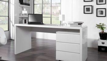 Kancelársky stôl Barter 160cm biely vysoký lesk