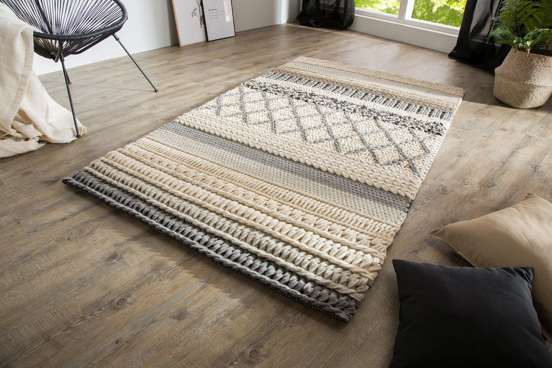 Dizajnový koberec Rebecca 200x120 cm / sivá pletenina moderná jedáleň