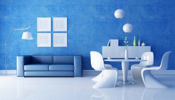 Modrý moderný interiér