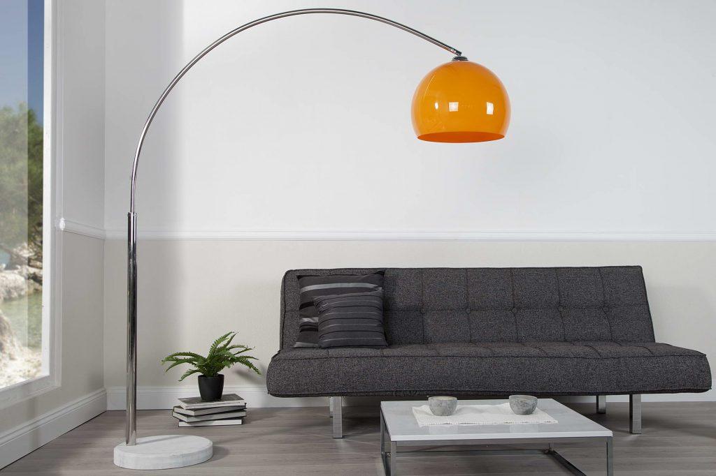 Dizajnová stojanová lampa Arch oranžová