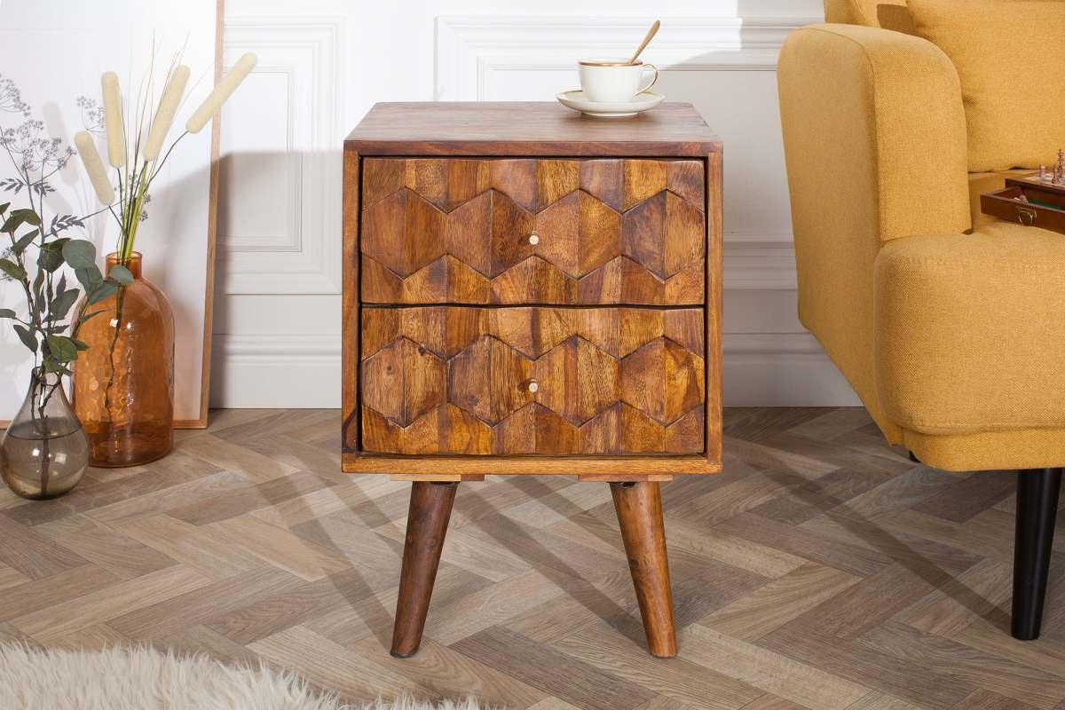 Dizajnový nočný stolík Justice, 40 cm, sheesham
