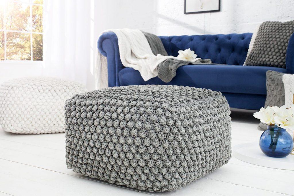 Úpletová taburetka Lilly 55 cm šedá