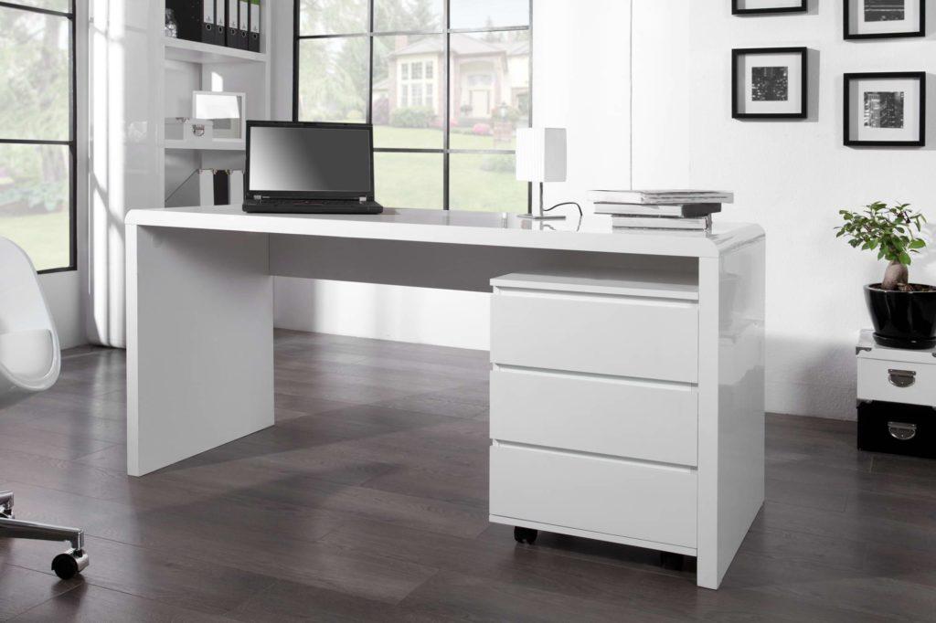 Biely lesklý písací stôl